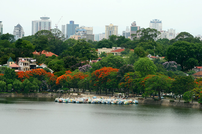 Flycams green Hanoi in Thanh Nien Road along West Lake - travel to Hanoi