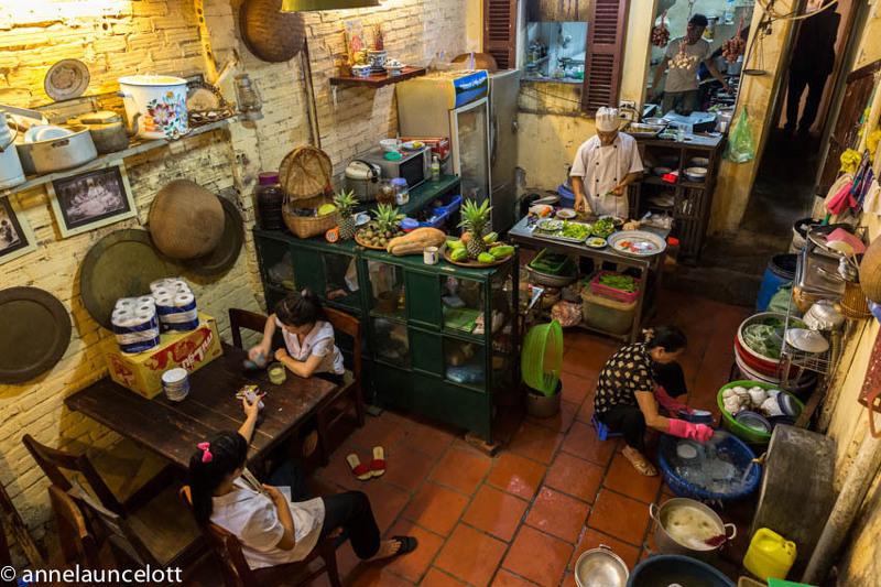 Kitchen at Mau Dich Restaurant - Hanoi half-day tour