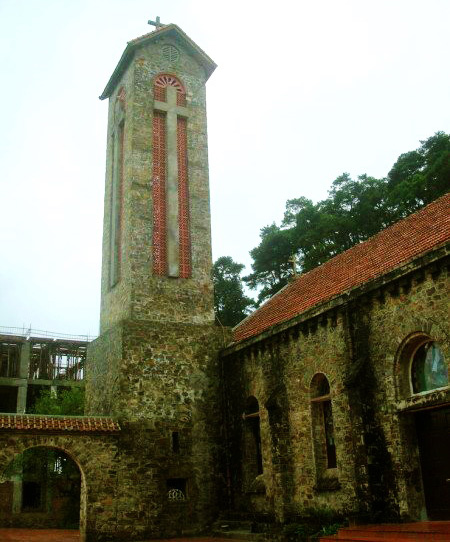 Bell tower in ancient stone church - Tam Dao short trip from Hanoi