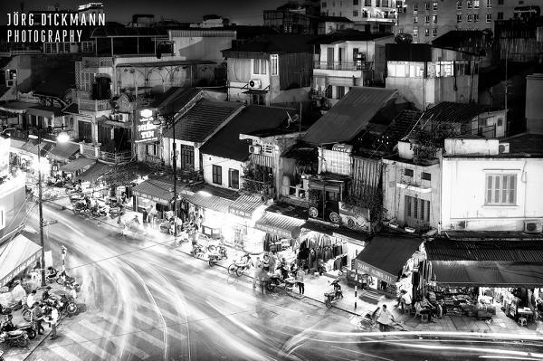 Hanoi Old Quarter in black and white - Tours in Hanoi