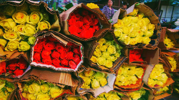 Bunches of flower at Hanoi night markets - Tours in Hanoi