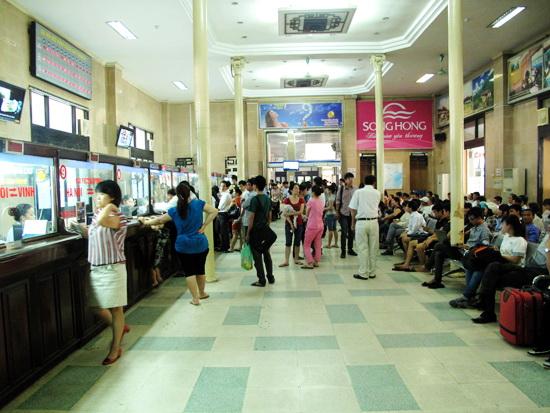 Queuing for train ticket at Hanoi station -  Hanoi tours