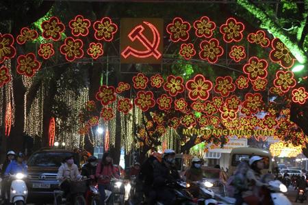 Hanoi Streets sparking at night during Tet - Hanoi Vietnam