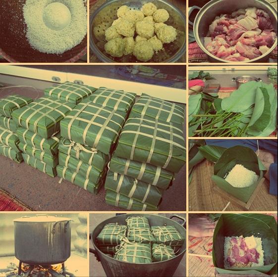 Process of making Banh Chung - Vietnamese food